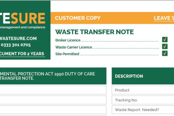 WasteSURE Waste Transfer Note